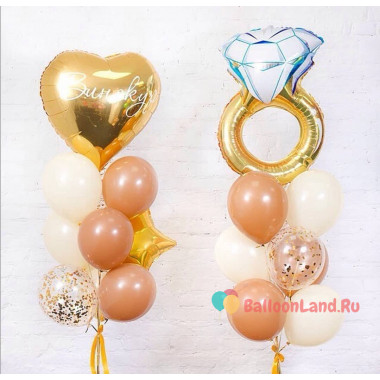 Композиция из воздушных шариков на девичник с кольцом, сердцем и звездой
