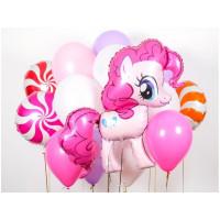 Сет шаров на День Рождения с пони в розовых тонах