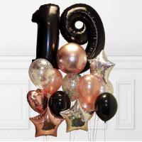 Облако шаров на День Рождения с чёрными цифрами