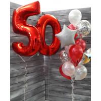 Сет шаров на День Рождения с красными цифрами