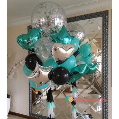 Букет ярких гелиевых шаров на День Рождения с вашей надписью