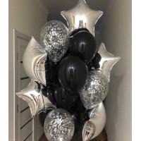Букет из воздушных шаров серебряно-чёрный
