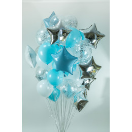 Облако воздушных шаров голубое и серебряное