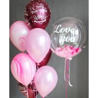 Сет гелиевых шаров на День Рождения с вашими поздравлениями