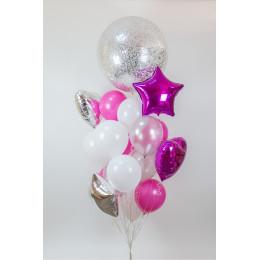 Фонтан из воздушных шаров со звёздами и сердцами