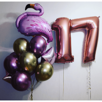 Сет шаров на День Рождения с фламинго и цифрами