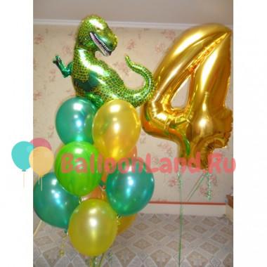 Композиция на День Рождения с динозавром и цифрой