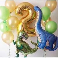 Сет воздушных шаров с динозаврами и цифрой