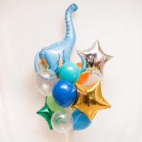 Букет красочных гелиевых шаров с голубым динозавром