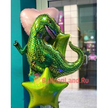 Букет воздушных шаров с динозавром