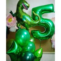 Сет шаров с гелием в зелёной гамме с динозавром и цифрой