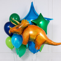 Композиция из шаров с гелием с трицератопсом