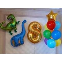 Композиция гелиевых шаров с динозаврами и цифрой