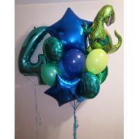 Сет шаров с цифрой и динозавром в голубо-зелёной гамме