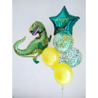 Набор воздушных шаров с динозавром и вашей надписью