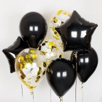 Сет из шариков с черными звездами и шарами с конфетти