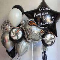 Композиция из шариков коллеге с большой звездой и байком на День Рождения
