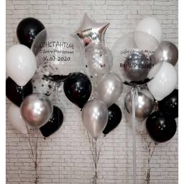 Композиция из шаров мужчине-коллеге на День Рождения с шарами с перьями