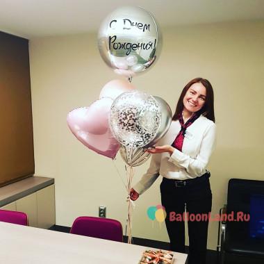 Букет из шаров на День Рождения со сферой и звездой с поздравлениями от коллег