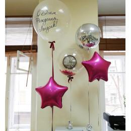 Композиция из шариков с шаром с перьями, сферой и звездами на День Рождения Коллеге