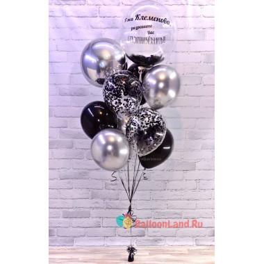 Букет из шаров с шаром с перьями на День Рождения коллеге