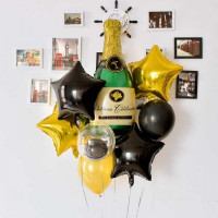 Набор шариков с бутылкой шампанского и звездами сотруднику
