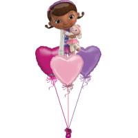 Букет воздушных шариков Доктор Плюшева и сердца