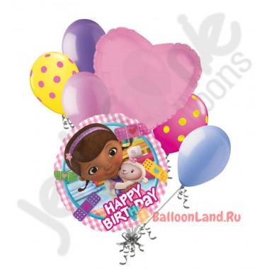 Букет шариков с гелием для девочки с Доктором Плюшевой и сердцем