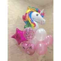 Букет воздушных шаров с единорогом в розовых тонах