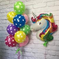 Сет разноцветных шаров с ярким единорогом