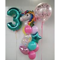 Сет гелиевых шаров на День Рождения с единорогом и цифрой