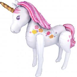 Ходячий шар Нежный Единорог с розовыми волосами