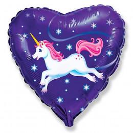 Шар-сердце Единорог на фиолетовом фоне