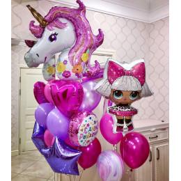 Композиция из шариков Единорог и кукла ЛОЛ Дива на День Рождения