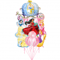 Композиция из шариков с гелием с принцессами Дисней - Еленой из Авалора, Золушкой, Белль, Белоснежкой, Рапунцель и Спящей красавицей
