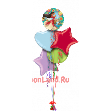 Букет из шаров Елена из Авалора со звездами и сердцем