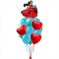 Букет шариков с гелием Елена из Авалора с красными сердцами