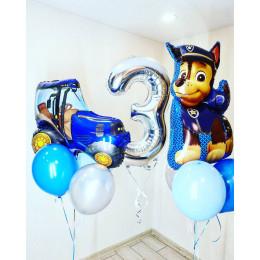Композиция из шариков с гелием на три года Щенячий патруль Гонщик с Трактором