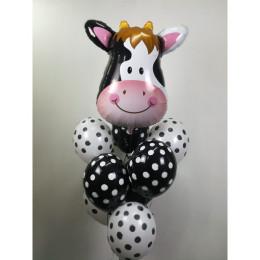 Букет из гелевых шаров в горошек с коровкой