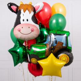 Набор шаров с гелием юному фермеру с трактором и коровкой
