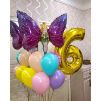 Композиция из шариков с феей-бабочкой с цифрой