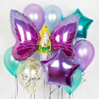 Набор гелевых шаров с феей-бабочкой со звездами и шаром с конфетти