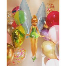 Композиция из гелиевых шаров фея Динь-динь с сердцами и шарами с конфетти
