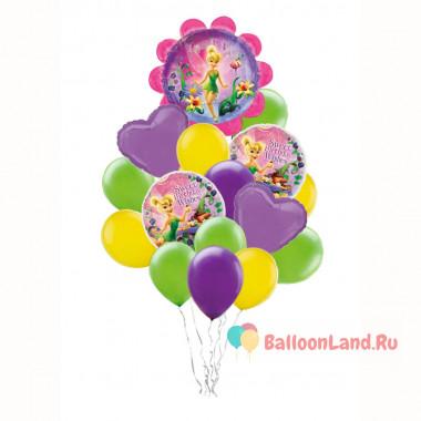 Букет из шаров с феей Динь-динь с сердцами