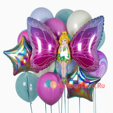 Букет шариков с гелием в розово-бирюзовой гамме с феей-бабочкой