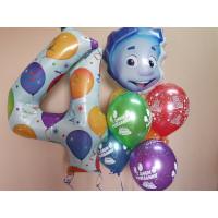 Композиция из шаров с гелием Фиксики с персонажем Ноликом с цифрой на день рождения