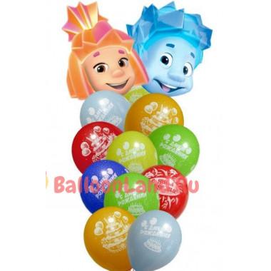 Букет гелевых шаров Фиксики Симка и Нолик на день рождения