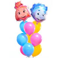 Фонтан из воздушных шаров Нолик и Симка герои м/ф Фиксики
