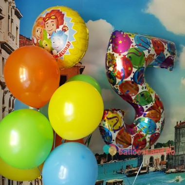 Композиция из гелиевых шариков Фиксики на день рождения с цветной цифрой