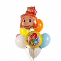 Сет из гелевых шаров Симка персонаж м/ф Фиксики с сердцами